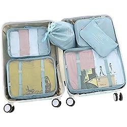 D-POCKET Storage Bags Organizer Cubes Travel Organizer Luggage Organizer Functional Clothing Cubes Travel Luggage Organizer Clothes Storage Bags (Blue)