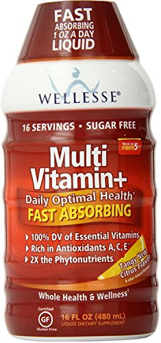 Wellesse Multivitamin Fast Absorbing, Complete B-Complex,Tangy New Citrus Flavor, 16 oz Pack of 4
