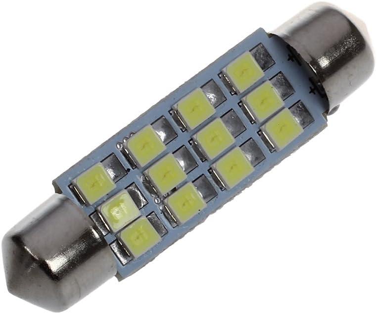 REFURBISHHOUSE 42mm 12 SMD 3528 LED Blanc Voiture Interieur c5w Dome Feston Ampoule Lampe DC 12V