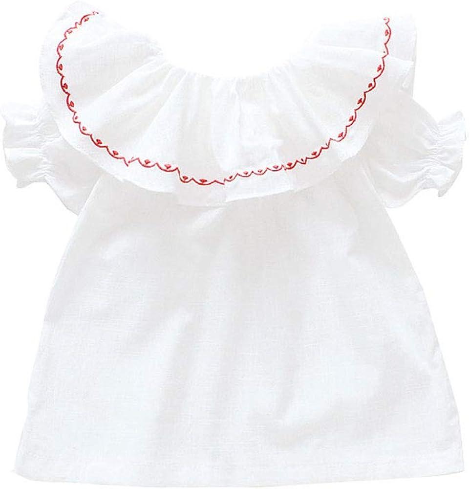 ALLAIBB Niña de niños Camisa Blanca Blusa Fuera del Hombro Collar de Loto Manga Corta 1-6 años Size 80 1T (Blanco): Amazon.es: Ropa y accesorios