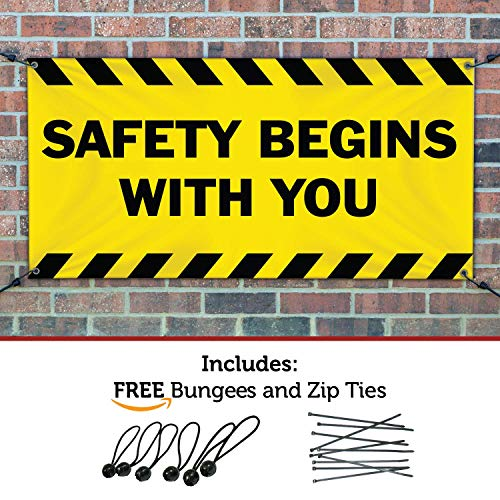 HALF PRICE BANNERS | Safety Begins with You Vinyl Banner | Heavy Duty Outdoor | 3