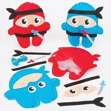 Baker Ross Kit de Costura de Cojines de Ninjas Que los niños Pueden Crear, Decorar y exhibir - Juego de Manualidades Creativas para niños (Pack de 2).