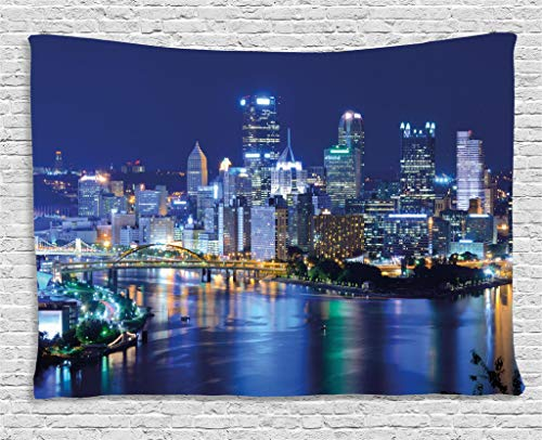 Ambesonne Cityscape Tapestry by, Skyscrapers Downtown Pittsburgh USA American Night Skyline Business Town Scenery, Wall Hanging for Bedroom Living Room Dorm, 60WX40L Inches, Grey -