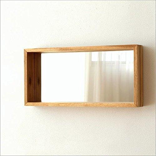 壁掛けミラー 木製 おしゃれ 棚 ウォールハンギングミラー [ksh8853] B01NBY8ZZV