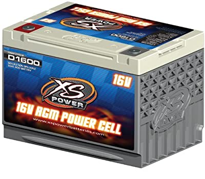 """XS Power D1600 AGM Series 2400 Max Amp 675 Cranking Amp 16V Battery with 3/8"""" Stud Adapter and 10.25"""" Hardware"""