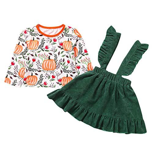 Little Girl Tutu Scarecrow Costumes - Toddler Baby Girls Pumpkin Organic Shirt Ruffled Dress Long Sleeve Tops Outfit