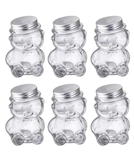 Set of 6 Mini Glass Teddy Bear Jars, 4