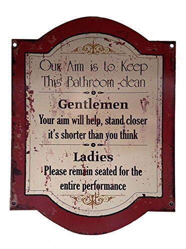 Bathroom Rules - Humorous Rustic Sign (Large)]()