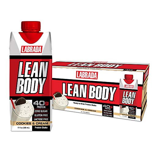 LABRADA - Lean Body Ready to Drink Protein Shake,Convenient On-The-Go Meal Replacement Shake,40 Grams of Protein -Zero Sugar, Lactose & Gluten Free,Cookies and Cream(Pack of 12)