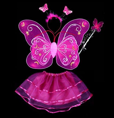 Fairy Butterfly Wing 4 Piece Set Costume Tutu Ballerina Dress up Dance skirt (Dk (Butterfly Childrens Costumes)