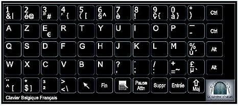 Belgian AZERTY Tamaño, 10 x 11, de vinilo de teclado y pequeños de llaves y fondo color negro