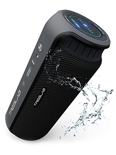 TREBLAB HD55 - Deluxe Bluetooth Speaker - Impeccable 360° HD Surround Sound & Best Bass, Great For Office, Travel & Beach Parties, Waterproof IPX4, Loud 24W Stereo, Portable Wireless Blue Tooth w/ Mic (Boost Phone Old Mobile)
