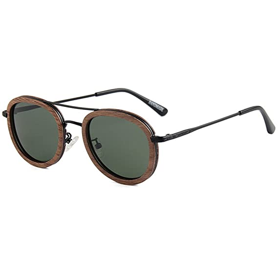 Fascigirl Pilotenbrille Vintage Sonnenbrille Holzrahmen Polarisierte Sonnenbrille für Frauen MäNner SxpqGM