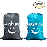 WISHPOOL Nylon Portable Laundry Bags Basket Set With Drawstring Collapsible Heavy Duty College Dirty Clothes Storage Bag 24 x 36.2 Inch 2 Pack (Blue and Gray)