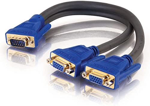 C2G 29610 Ultima One HD15 VGA Male to Two HD15 VGA Female SXGA Monitor Y-Cable, Black (1 Feet, 0.3 Meters)