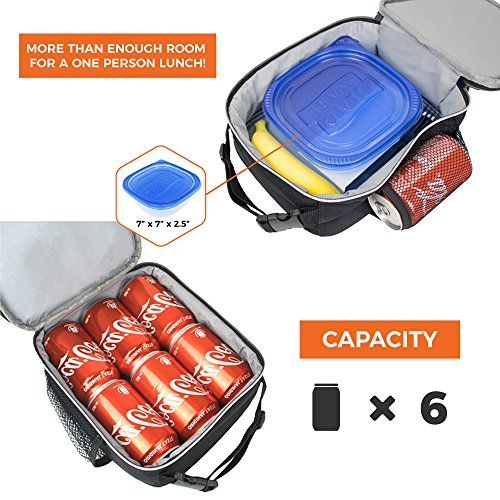 OPUX Premium Thermal Insulated Mini Lunch Bag | School Lunch Box For Boys, Girls, Kids, Adults | Soft Leakproof Liner | Compact Lunch Pail for Office (Heather Gray) by OPUX (Image #5)