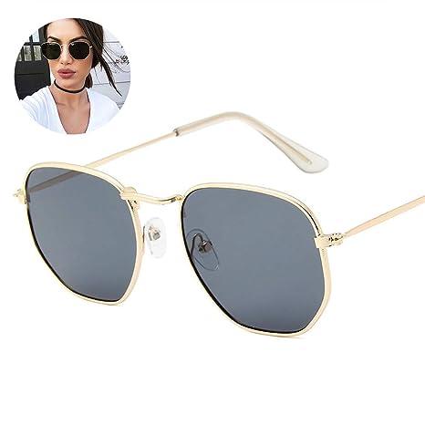 Marco 1PC Fino de Metal Gafas de Sol polarizadas Polígono Lente reflejada protección UV para Hombres y Mujeres (Marco del Oro Gris de la Lente)