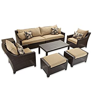 Elegant RST Brands Delano Sofa And Club Chair Seating Set With Coffee And End Table  Patio Furniture, 7 Piece