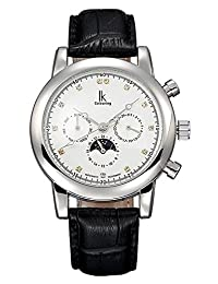 Fanmis Automatic Mechanical Moon-phase Waterproof Black Leather Strap Calendar Men's Watches Silver White