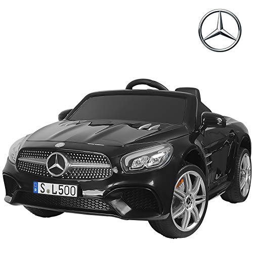 Uenjoy 12V Licensed Mercedes-Benz SL500 Kids Ride On Car Electric Cars Motorized Vehicles for Kids, Remote Control, Music, Horn, Spring Suspension, Safety Lock, Black (Best Electric Car For 3 Year Old)