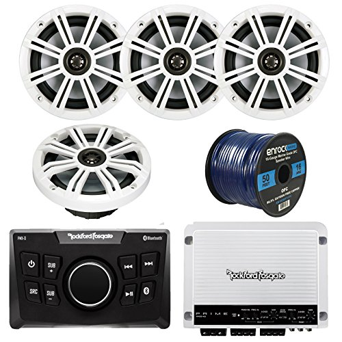 Rockford Fosgate PMX-0 Ultra Compact Bluetooth Marine Boat Digital Media Receiver Bundle Combo With 4x Kicker KM654 6.5