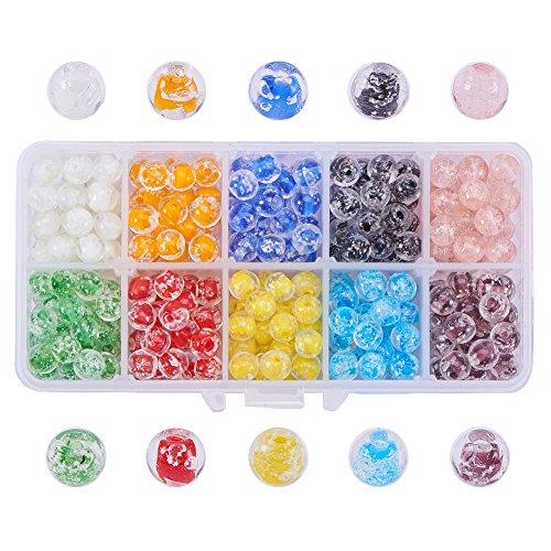 - PH PandaHall 1 Box (About 350 pcs) 10 Color 8mm Round Handmade Luminous Lampwork Beads Assortment Lot for Jewelry Making