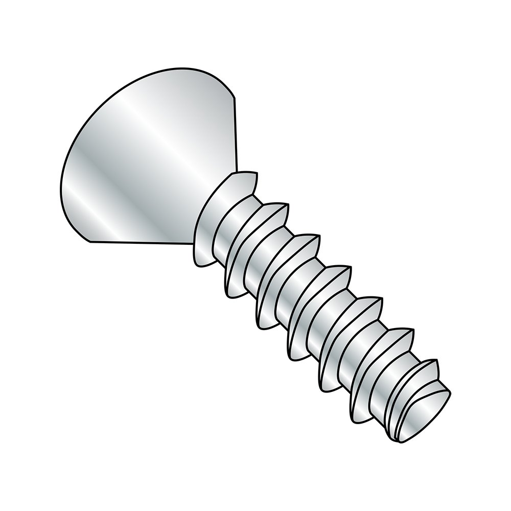 Steel Thread Rolling Screw for Plastic, Zinc Plated, 82 Degree Flat Head, Phillips Drive, #4-20 Thread Size, 1/4'' Length (Pack of 100)