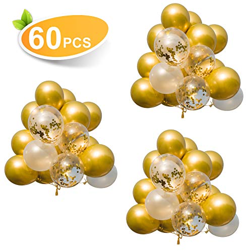 60PCS Premium Balloons, Gold Balloons & Gold Confetti Balloons & White Balloons, 12Inches Latex Party Balloons, Helium Balloons for Parties