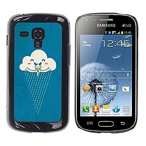 YOYOYO Smartphone Protección Defender Duro Negro Funda Imagen Diseño Carcasa Tapa Case Skin Cover Para Samsung Galaxy S Duos S7562 - nube helados lluvia feliz de la historieta