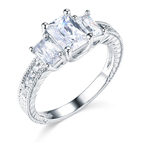 14K White Gold Emerald-cut 2.00 CTW Equivalent Three Stone CZ Cubic Zirconia Ladies Wedding Engagement Ring Band – Size 6