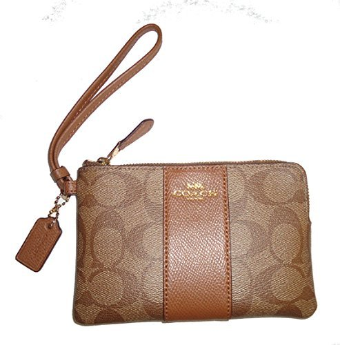 Coach Crossgrain Leather Corner Zip Wristlet Khaki Saddle by Coach