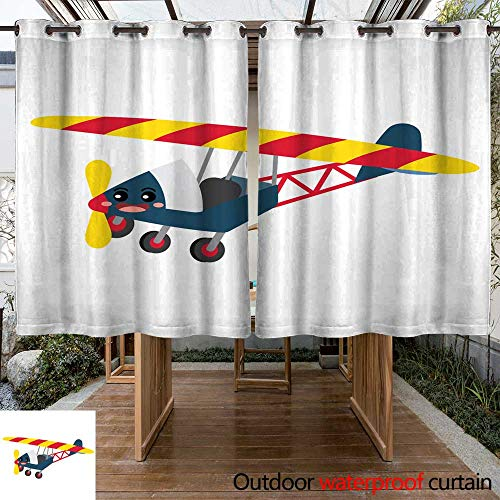 (RenteriaDecor Home Patio Outdoor Curtain Ultralight Aircraft Transportation Cartoon Character Perspective View Vector Illustration W108 x L72)