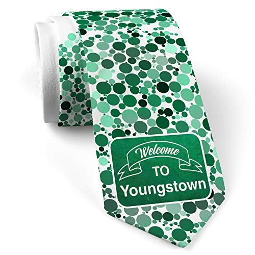 Neck Tie with Green Sign Welcome To Youngstown White with Color Print