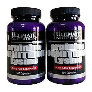 Ultimate Nutrition Arginine Ornithine Lysine Capsules, 100 Count Bottles (Pack of 2)