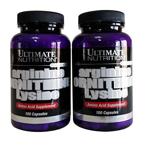 Ultimate Nutrition Arginine Ornithine Lysine Capsules, 100 Count Bottles (Pack of 2)