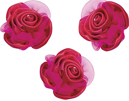 SALE - 3 Large Fuchsia Pink Satin & Organza Ribbon Roses with Clip