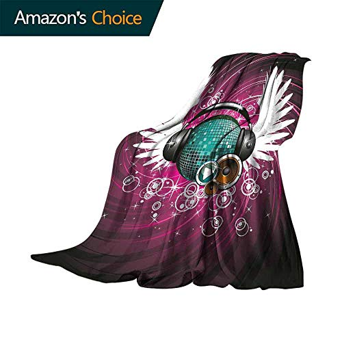 vanfan-home Popstar Party Outdoor Blanket,Disco Ball with Headphones and Angel Wings Vibrant Swirl with Circles Super Soft Faux Fur Plush Decorative Blanket (70