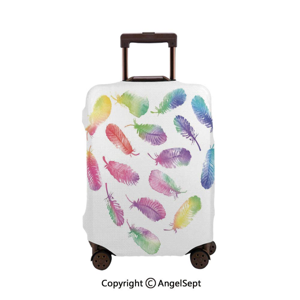 Fashion Travel Suitcase Protector Zipper,Fluffy Dreamy Pattern with Watercolor Elements Plumage Romantic Multicolor,26x37.8inches,Washable Print Luggage Cover