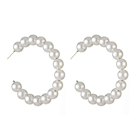 Greentail Pearly Hoop Earrings For Women Small White Pearl Drop Dangle Earrings Lightweight Elegant Fashion Jewelry Gift by Greentail