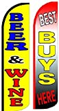 Beer & Wine, Best Buys Here King Windless Flag w/Kit- Pack of 2