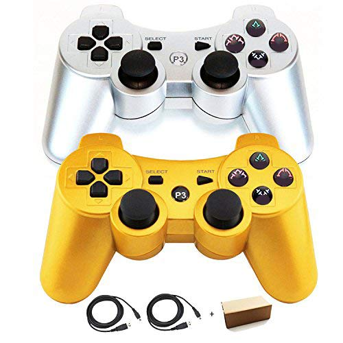 Molgegk Wireless Dual Vibration Controller for PS3, Sixaxis Gamepad Remote for Playstation 3 with Charge Cables - Gold and Silver (Pack of 2)