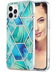 TYWZ Marmeren Hoesje voor iPhone 13 Pro Max,Marmeren Ontwerp Anti-Kras en Vingerafdruk Schokbestendig Dunne Zachte TPU Bumper Cover-Groen