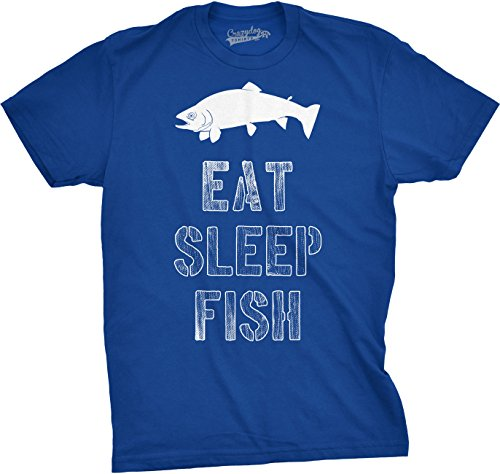 Crazy Dog T-Shirts Mens Eat Sleep Fish T Shirt - Funny Vintage Fishing Outdoors Tee (Blue) XL Eat Dog T-shirt