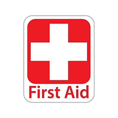 "Bargain Max Decals - Emergency First Aid Kit Safety Sign - Sticker Decal Notebook Car Laptop 4"" x 5"" (Color): Automotive"