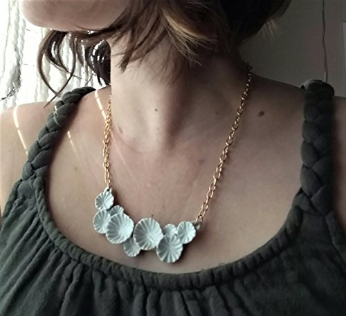 Porcelain ceramic white bib necklace. Coral Reef, white flowers, beach wedding heirloom short necklace, artisan made, Solid brass matte gold chain, magnetic closure. Limited (Heirloom Inspired Jewelry)