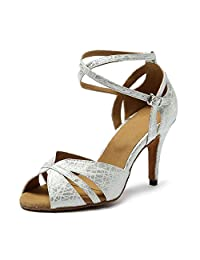 Miyoopark KL216 Women's Cross Strap Synthetic Latin Salsa Tango Wedding Sandals