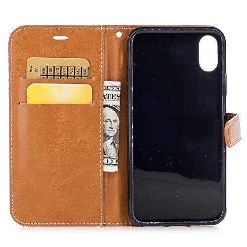 COWX iPhone X Hülle Kunstleder Tasche Flip im Bookstyle Klapphülle mit Weiche Silikon Handyhalter PU Lederhülle für Apple iPhone X Tasche Brieftasche Schutzhülle für iPhone X schutzhülle