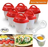 Egg Cooker Hard & Soft Maker, 6Pcs Egg Cooking Molds No Shell Boiled Egg Cups Non Stick Silicone Boiled Steamer Eggies