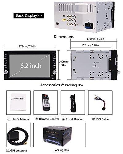 "EinCar 6.2"" Car Stereo Car Radio Head Touch Screen Player Car AM/FM SD AUX Remote With Wireless Camera"