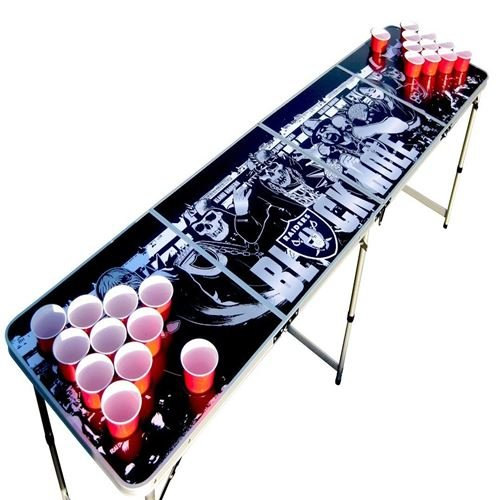Oakland Beer Pong Table with Holes, 2x8, 8ft Tailgate Table with Recessed Cup Holes, Aluminum, Portable